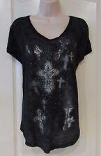 Rock & Republic® Pinhead Glitter Boxy Tee BLACK TIE Women's Sz L NWT MSRP$44 HOT
