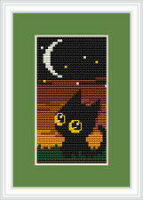 Nightime Black Cat Cross Stitch Kit por Luca S Ideal Para Principiantes 5cm X 10 Cm