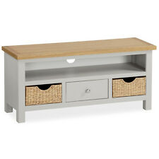Farrow Painted TV Stand with Baskets / Large Stone Painted TV Unit / New