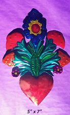 "Heart & Flowers Mexican Handmade Painted Tin Milagro Style Art 7""x5"""