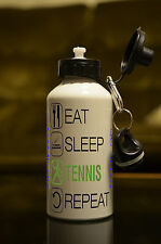 PERSONALISED 500ml Eat Sleep Tennis Water Bottle Sublimation Sport Hobby Novelty