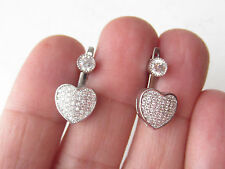 TURKISH JEWELRY FRONT BACK WHITE TOPAZ 925K STERLING SILVER HEART EARRINGS
