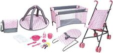 "Doll Playset Toy Girls 16"" Nursery Baby Accessories Stroller Bag Bed Bouncer New"