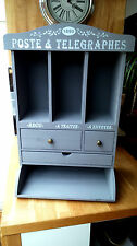 Shabby Chic Vintage Style Wooden French Grey Telegraphes Newspaper Bureau New
