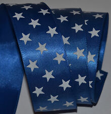 Wired Ribbon~Patriotic~Blue~White Sparkle Stars~Flag~Americana~Wreath~Gift~Bow