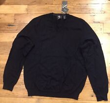 NWT Men's Calvin Klein V-neck Extra Fine Merino Wool Sweater Black Medium