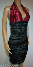 VICKY MARTIN black red satin gathered bodycon fitted halter dress 10 12 BNWT