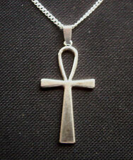 Ankh Egyptian Cross Life Antiqued Silver Tone Pendant Necklace