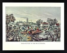 Currier & Ives Print - High Water on Mississippi River - Flood - Steamboat