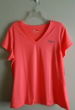 NWT Fila Sport Women's 1X Short Sleeve Shirt V-NECK Melon Flare NEON Orange Pink