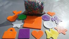 Perler Beads Lot with Beads 2 pounds, 14 Pegboards assorted