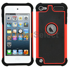 Hybrid Rugged Rubber Matte Hard Case Cover for Apple iPod Touch 5 5th Gen Red