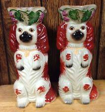 antique (set of 2) STAFFORDSHIRE DOG JUG PITCHERS vintage MATCHING SPANIEL rare
