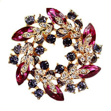 Diamante Shine Purple & Pink Circle Wreath Rhinestones Brooch Gold Base BR168