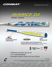 "2015 Combat Avarice G4 USSSA Slow Pitch Softball Bat AVASP4 34""-26.5 oz.  w/Warr"