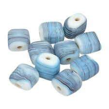 Black Striped Matte Light Blue Square Glass Beads 10x10x5mm Pack of 10 (B18/6)