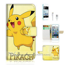 iPod Touch iTouch 5 Print Flip Wallet Case Cover! Pokemon Pikachu P0056