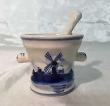 Delft Blue & White Small Hand Painted WINDMILL Mortar & Pestle Figurine NEW