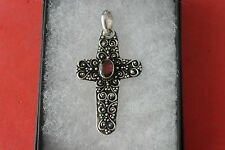 Beautiful 925 Silver Cross With Faceted Garnet  5.1 Grams  4.5 x 2.5 Cm. Wide