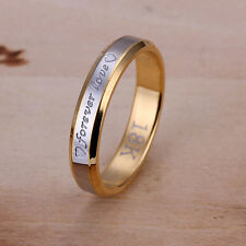 Stainless Steel Gold Tone Gold Band Forever Love Ring Size 8 B99