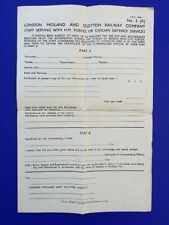WW2 London Midland and Scottish Railway Company H M Forces/Civil Defence Form.