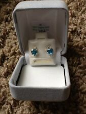 10k Gold Genuine Blue Topaz With CZ Earrings