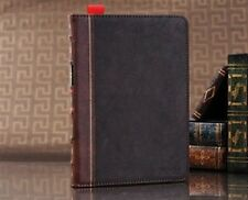 (L)Vintage Book Classic 360° smart cover Brown Case Cover for the new iPad 2 3 4