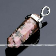 Natural Rhodonite Quartz Healing Point Chakra Gemstone Pendant For Necklace