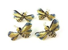 Set Of 4 Champleve Enamel Bee Bug Wasp Napkin Rings Pottery Barn Discontinued
