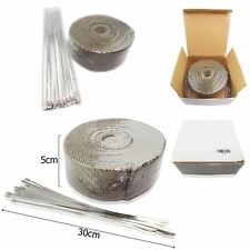 10M BASALT TITANIUM HEAT WRAP EXHAUST MANIFOLD + 10 STAINLESS CABLE TIES 30cm