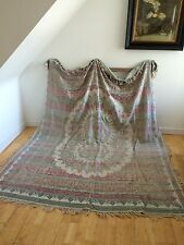 Cama De Seda Vintage 1900s Lino tirar Antiguo Bohemio Boutique Home Collection