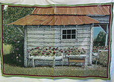 White Washed country house swing unfinished Tapestry Fabric Wall Hanging Panel