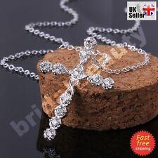 Mujeres Niñas Diamantes de Imitación de Cristal Cruz Colgante Collar de plata esterlina 925 Cadena