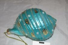 Glass turquoise Conch pearl Seashell Shell Beach Theme Christmas Ornament New