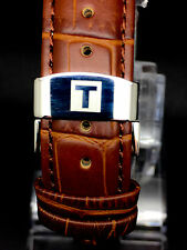 NEW TISSOT GENUIN LEATHER BROWN STRAP/BAND SILVER PLATED BUCKLE 20MM