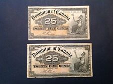 1900 Dominion of Canada 25 Cents Shinplasters Boville - Lot of 2