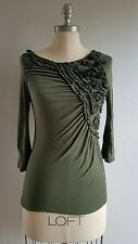 Anthropologie Deletta $89 Olive Green 3/4 Sleeve Ruffle Stretch Top Size XS