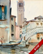 GONDOLA, BRIDGE & CAMPANILE TOWER IN VENICE ITALY PAINTING ART REAL CANVAS PRINT