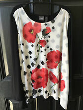 New Chico's Travelers Black White Poppy Floral Blocked Print Top 3 XL 16/18 NWT