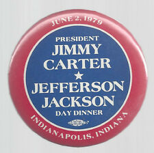 1979 JIMMY CARTER VISITS INDIANAPOLIS ONE-DAY EVENT POLITICAL CAMPAIGN BUTTON