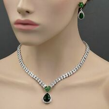 White Gold Plated Emerald Zirconia CZ Necklace Earrings Wedding Jewelry Set 8328