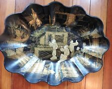 Antique 19th c. French Papier Mache Lacquer Tray Chinese Chinoiserie Black Gilt