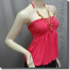 Cute Puffy Bubble Tube Top w Necklace Hot Pink XS/S