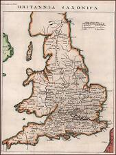 ENGLAND & WALES, MAP by Isaac Basire, Hand color in Outline,  original 1745