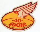 "Vintage Diecut ""Winged Football"" Label: ""40 ADOHR FLYING FOOTBALL TOURNAMENT"""