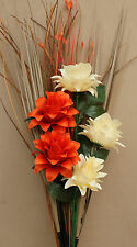 ARTIFICIAL SILK ORANGE AND CREAM DRAGON FLOWERS GRASS BOUQUET READY FOR VASE