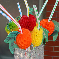 50 Pcs 3D Fruit Cocktail Juice Drinking Straws Hawaiian Novelty Party Decoration