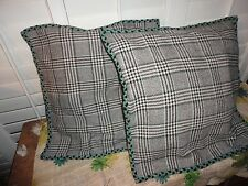 """CRATE & BARREL JADE PLAID  WOOL BLEND GRAY BLACK (2) SQUARE PILLOW COVERS 20"""""""