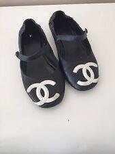 """Authentic CHANEL """"Cambon"""": Black, Leather & """"CC"""" Logo, Ballet Flats Sz: 8 M"""