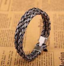 G25 Gray Surfer Double 6mm Braided PU Mens Leather Bracelet Wristband Cuff